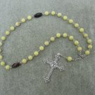 Snow Lemon Jade Gemstone Orthodox Chotki Prayer Beads Silver Papal Cross Ferula 33 Bead