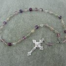 Rainbow Flourite Gemstone Orthodox Chotki Prayer Beads Silver Crucifix 33 Bead