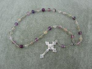 Rainbow Flourite Gemstone Orthodox Chotki Prayer Beads Silver Crucifix 33 Bead