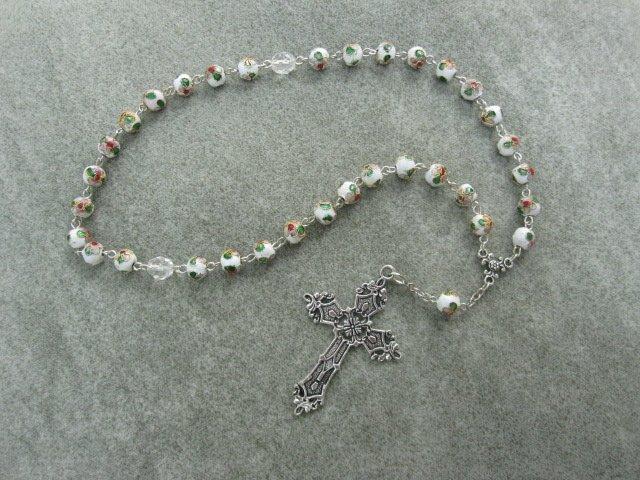 White Cloisonne Orthodox Chotki Prayer Beads Silver Cross 33 Bead