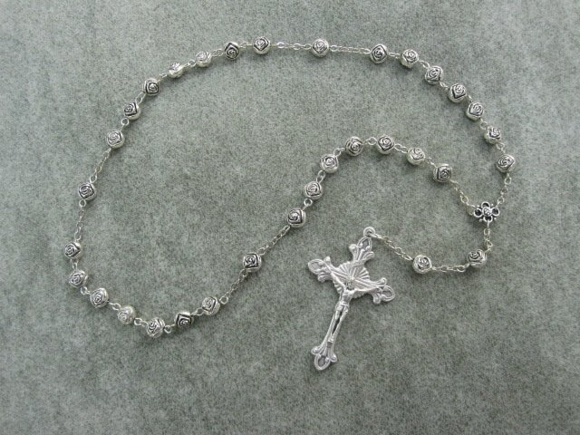 Rose Bud Anglican Rosary Silver Crucifix 8mm Beads