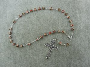 Burgundy Cloisonne Anglican Rosary Silver Cross 8mm Beads