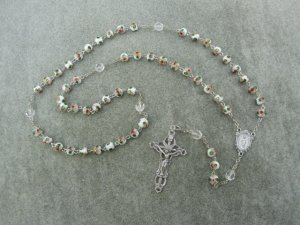 White Cloisonne Rosary Miraculous Center Silver Crucifix 8mm Beads