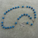 Blue Fossil Gemstone Anglican Rosary Silver Crucifix 8mm Beads