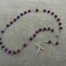 Plum Fossil Gemstone Anglican Rosary Silver Crucifix 8mm Beads