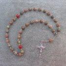 Autumn Jasper Gemstone Orthodox Chotki Prayer Beads Silver Crucifix 33 Beads 8mm
