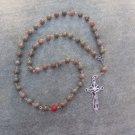 Autumn Jasper Gemstone Orthodox Chotki Prayer Beads Silver Crucifix 50 beads 8mm