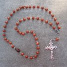 Brown Fossil Gemstone Orthodox Chotki Prayer Beads Silver Crucifix 50 beads