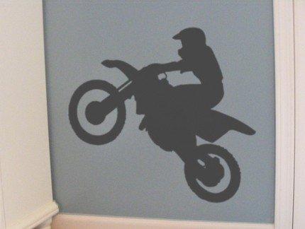 Dirt Bike and Rider Jumping Vinyl Wall Decal Sticker