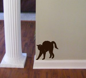 Vinyl Wall Decal Sticker Hunched Hissing Cat for Spooky Decor