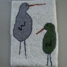 TWO SHORE BIRDS FOLK ART HAND HOOKED RUG OOAK