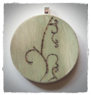RECYCLED OOAK ENGRAVED WOOD PENDANT PARK BENCH
