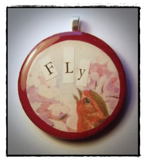 MIXED MEDIA OOAK VINTAGE BIRD COLLAGE PENDANT FLY