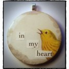MIXED MEDIA OOAK VINTAGE BIRD COLLAGE PENDANT In My Heart