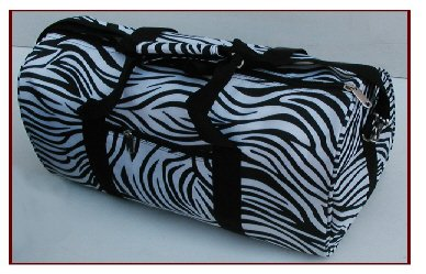Black White Zebra Lady's Tote Duffel (1 CASE=20)