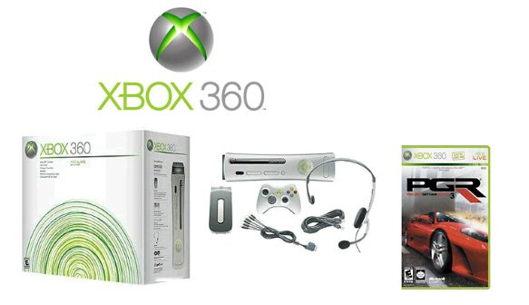"""Xbox 360 """"Premium Gold Pack"""" Video Game System + One Racing Game FREE SHIPPING!!!!!"""