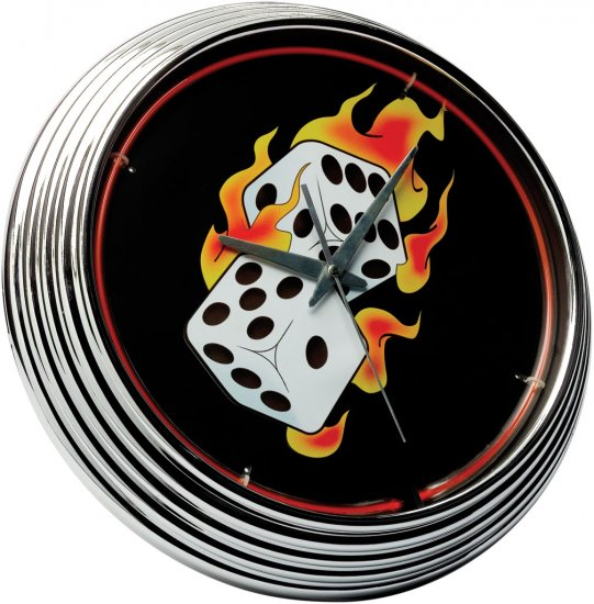 Neon Clock Flaming Dice