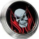 Neon Clock Flaming Skull FREE SHIPPING!!!