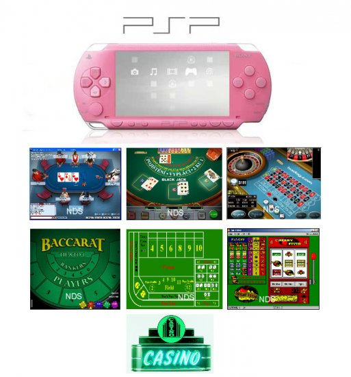 """Sony PSP Pink - """"Casino Royal"""" Bundle with 14 Superb Casino Games FREE SHIPPING!!!!"""