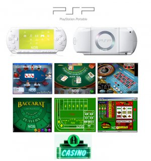 "Sony PSP Ceramic White - ""Casino Royal"" Bundle with 14 Superb Casino Games FREE SHIPPING!!!"