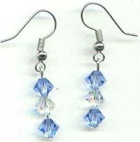 Blue and Clear Swarovski Drop Earrings