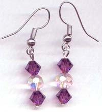 Violet and Light Pink Swarovski Drop Earrings