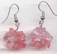 Round Cherry Quartz chips Dangling Earrings
