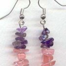 Straight Amethyst & Cherry Quartz chips Dangling Earrings