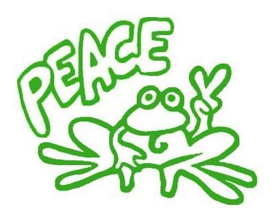 Green PEACE FROG Vinyl sticker / decal