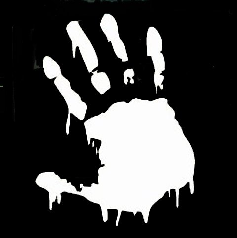 BLOODY ZOMBIE HAND PRINT White vinyl car STICKER / DECAL