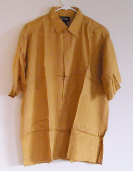 Mens Silk Casual Golden Shirt Size S