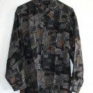 New 100% silk long sleeve printed mens shirt size S NIB