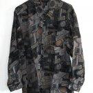 New 100% silk long sleeve printed mens shirt size L NIB