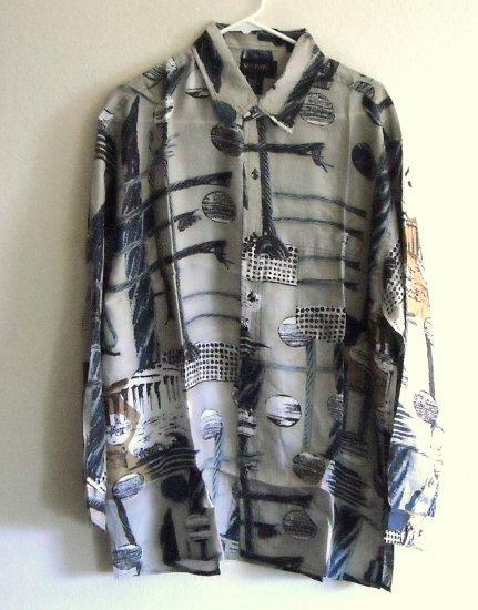 New 100% silk long sleeve printed beige mens shirt size L NIB