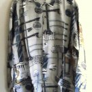 New 100% silk long sleeve printed beige mens shirt size M NIB
