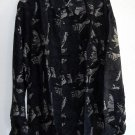 New Navy blue printed 100% Silk mens shirt size M NIB