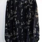 Navy Blue 100% Silk Printed Mens Shirt Size S NIB