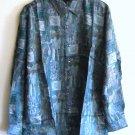 100% Silk Blue Teal Printed Mens Shirt Size S NIB