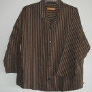 Biberstein Hudson Black Striped Cotton Mens Shirt Size 52 L