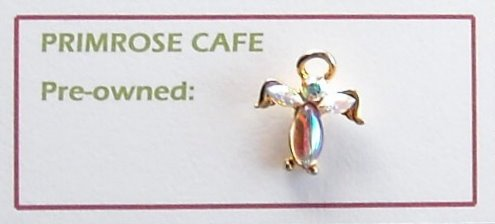 Angel Rhinestone Gold tone tie tac pin