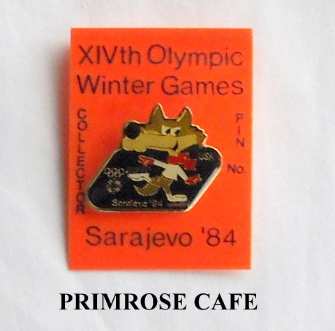 Collectors Olympics XIV 1984 Winter games Sarajevo skating tie tac hat lapel pin