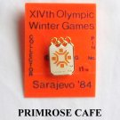 Collectors Olympics XIV 1984 Winter games Sarajevo white seal tie tac hat lapel pin