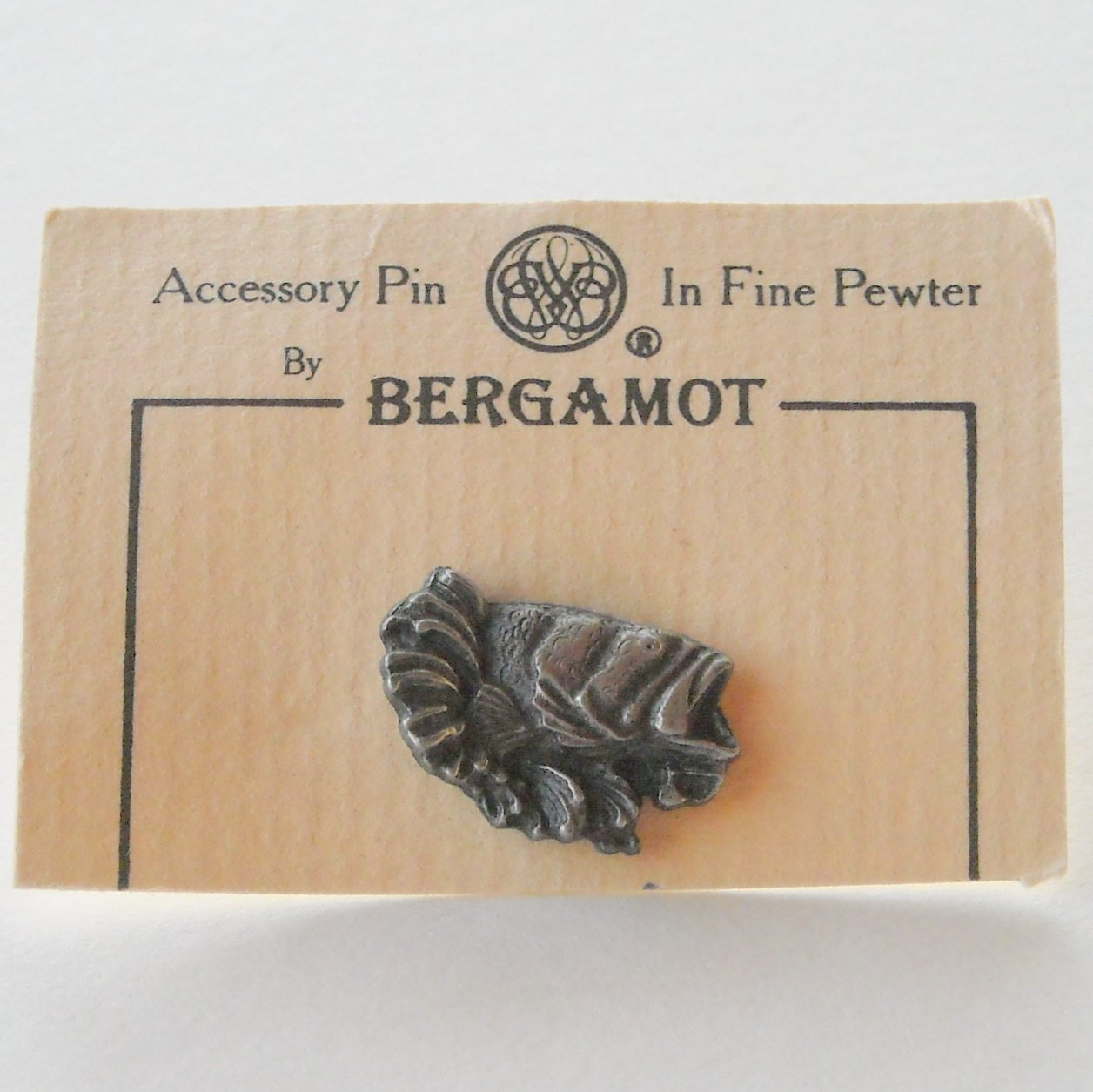 Vintage Bergamot Big Mouth Bass Pewter Tie Tac Hat Lapel Pin