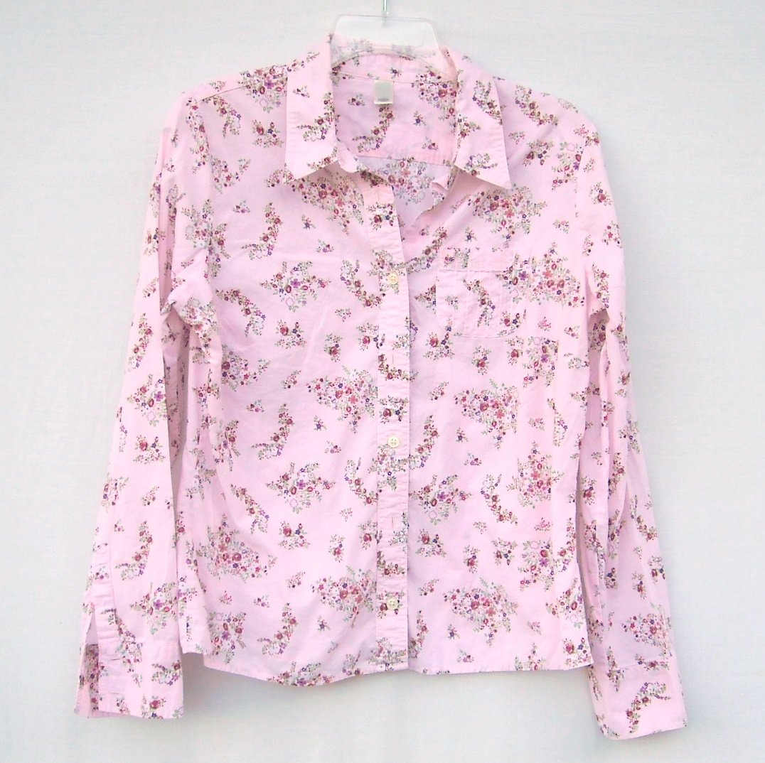 Old Navy Womens Pink Floral Button Down Shirt Top Size L