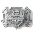 Heavy Metal Skull And Guns Pewter Metal Belt Buckle