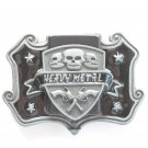 Black Heavy Metal Skull And Guns Pewter Zippo Style Lighter Belt Buckle