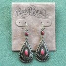 Lucky Brand Antiqued Bronze Tone Dangle Red Drop Earrings