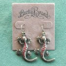 Lucky Brand Antiqued Bronze Tone Dangle Red Gecko Lizards Earrings