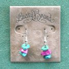 Lucky Brand Silver Tone Turquoise Red Green Stone Dangle Earrings