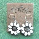 Lucky Brand Silver Tone Dangle White Flower Earrings